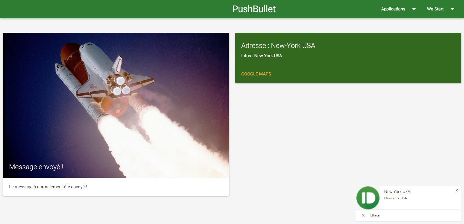 Support de pushbullet et bientôt envoi de SMS !