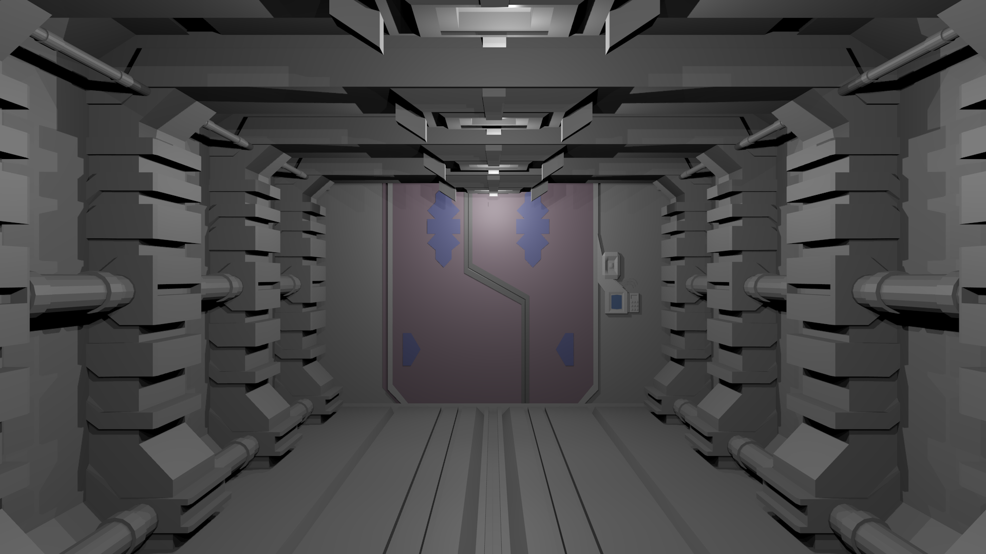 Wip couloir de vaisseau spatial blender par lehrse for Decoration porte star wars