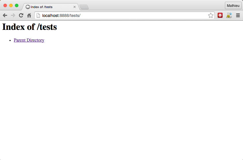 Un dossier vide s'affiche dans le navigateur grâce à MAMP