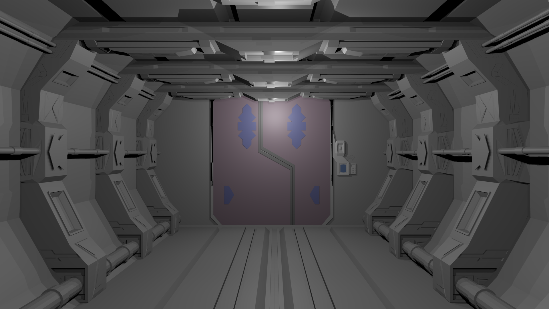 Wip couloir de vaisseau spatial blender par lehrse for Decoration porte 3d