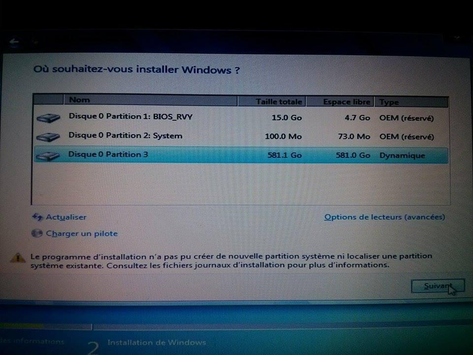 R solu probl me r installation windows 7 par matthias76 - Reparer table de partition disque dur ...