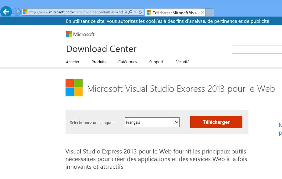 Télécharger Visual Studio Express pour le web