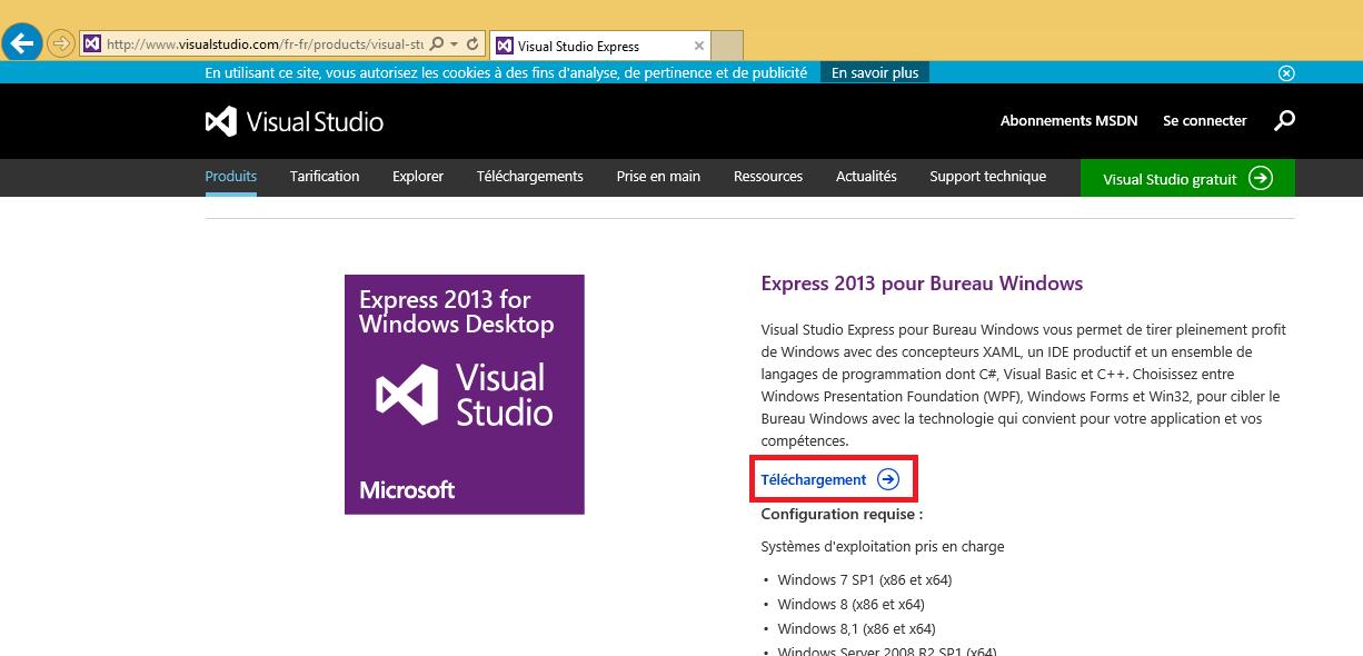 Page de téléchargement des Visual Studio Express