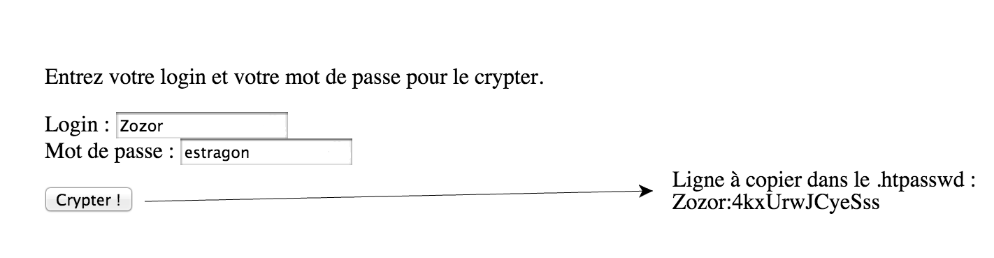 Interface pour crypter un mot de passe