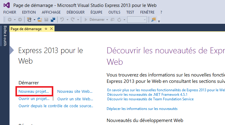 Page d'accueil de Visual Studio