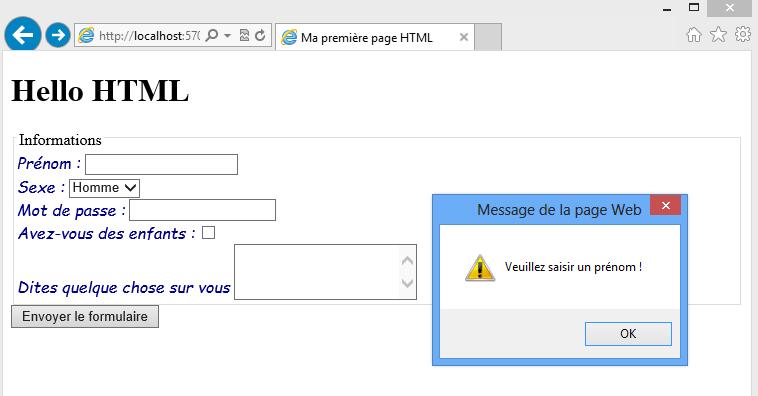 Message d'alerte Javascript