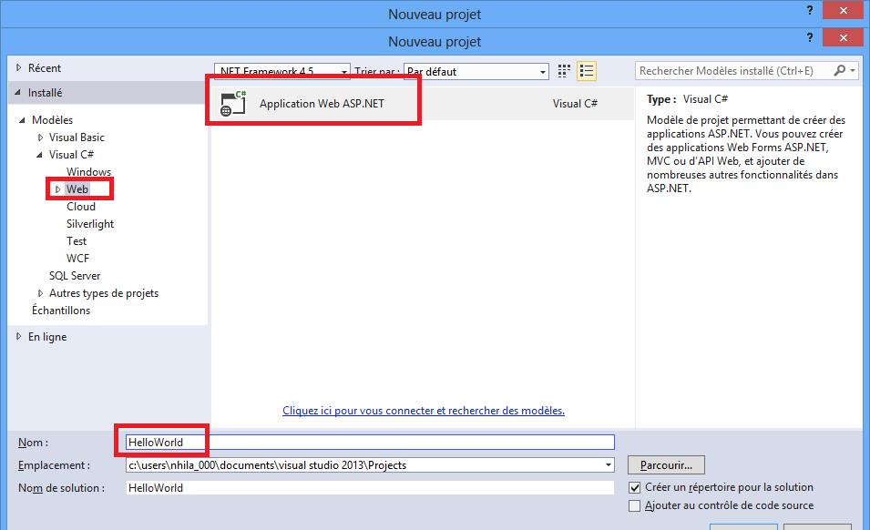 Création d'un projet ASP.NET