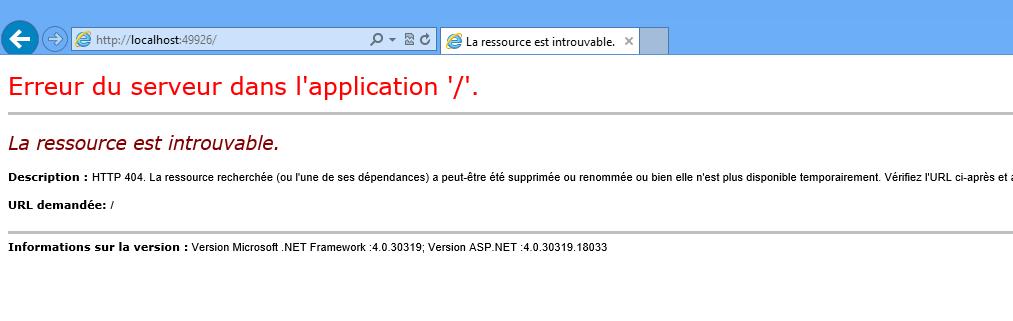 Erreur lors du démarrage de l'application web