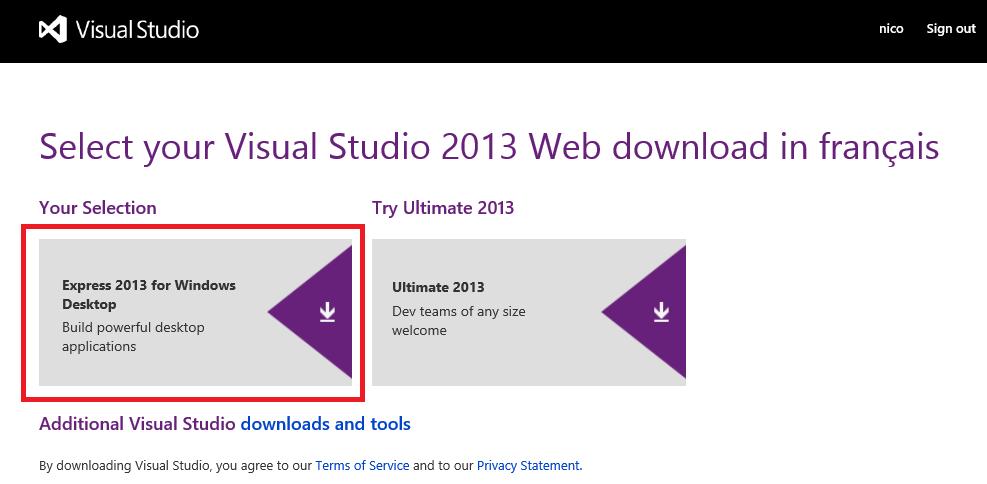Télécharger Visual Studio Express pour Desktop