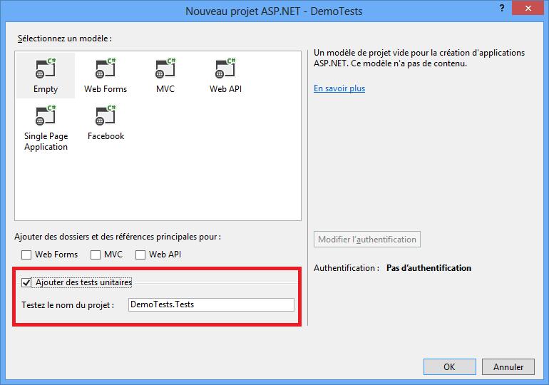 Ajouter un projet de tests à la création d'un projet ASP.NET MVC