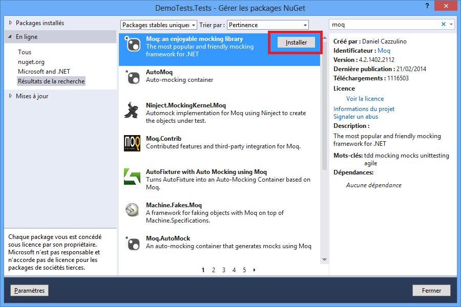 Installer Moq via NuGet