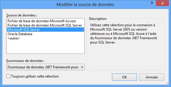 Sql Server en source de données