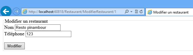 Le formulaire de modification de restaurant