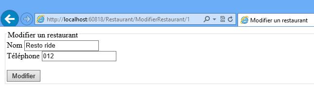 Modification du restaurant à partir des données postées depuis le formulaire