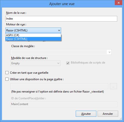 Choix du moteur de vue, avant Visual Studio 2013