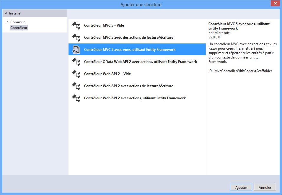 Création d'un contrôleur avec vues, utilisant Entity Framework
