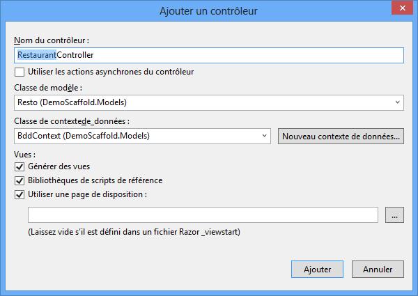 Choix du modèle et de la classe de contexte de données