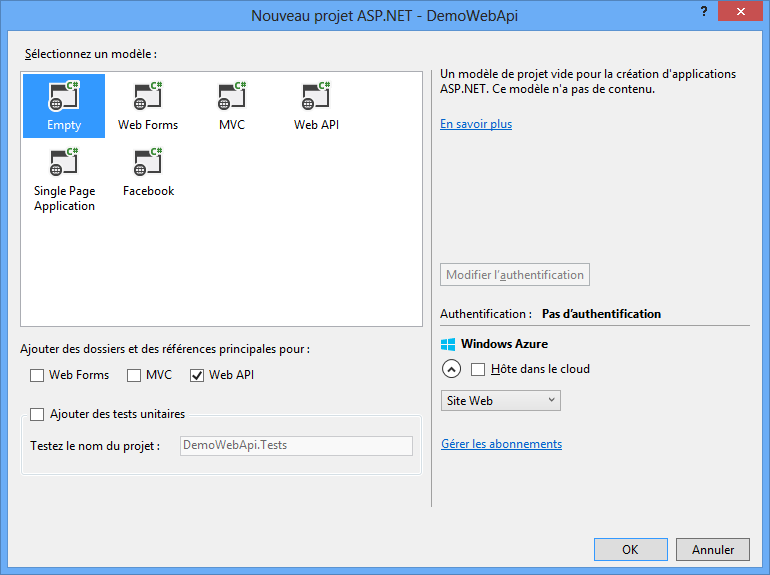 Activer les fonctionnalités Web API