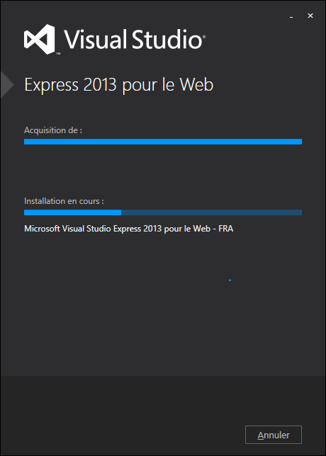 Installation de Visual Studio en cours