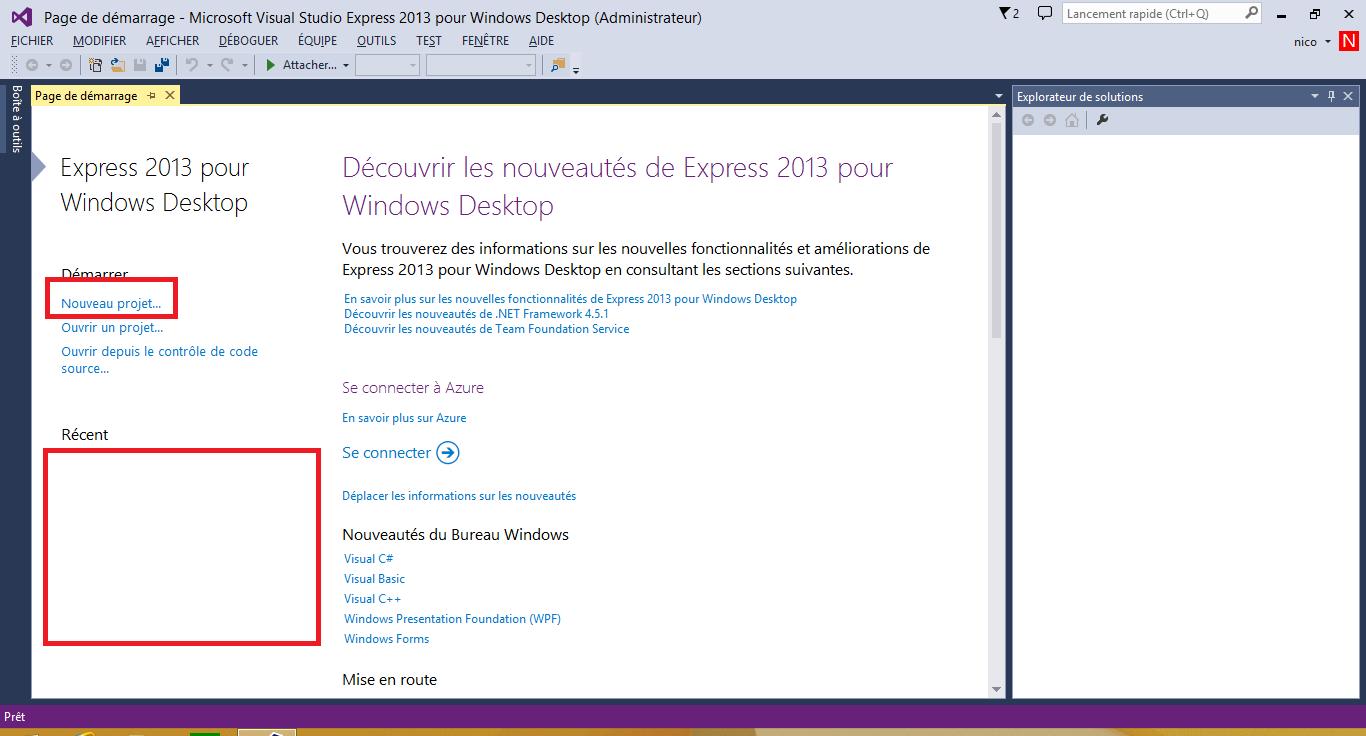Page d'accueil de Visual Studio Express 2013 for Windows Desktop