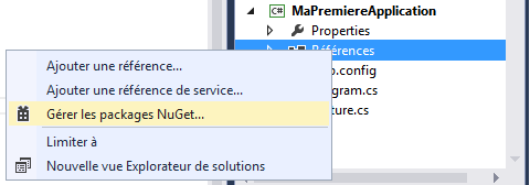 Gestion des packages NuGet