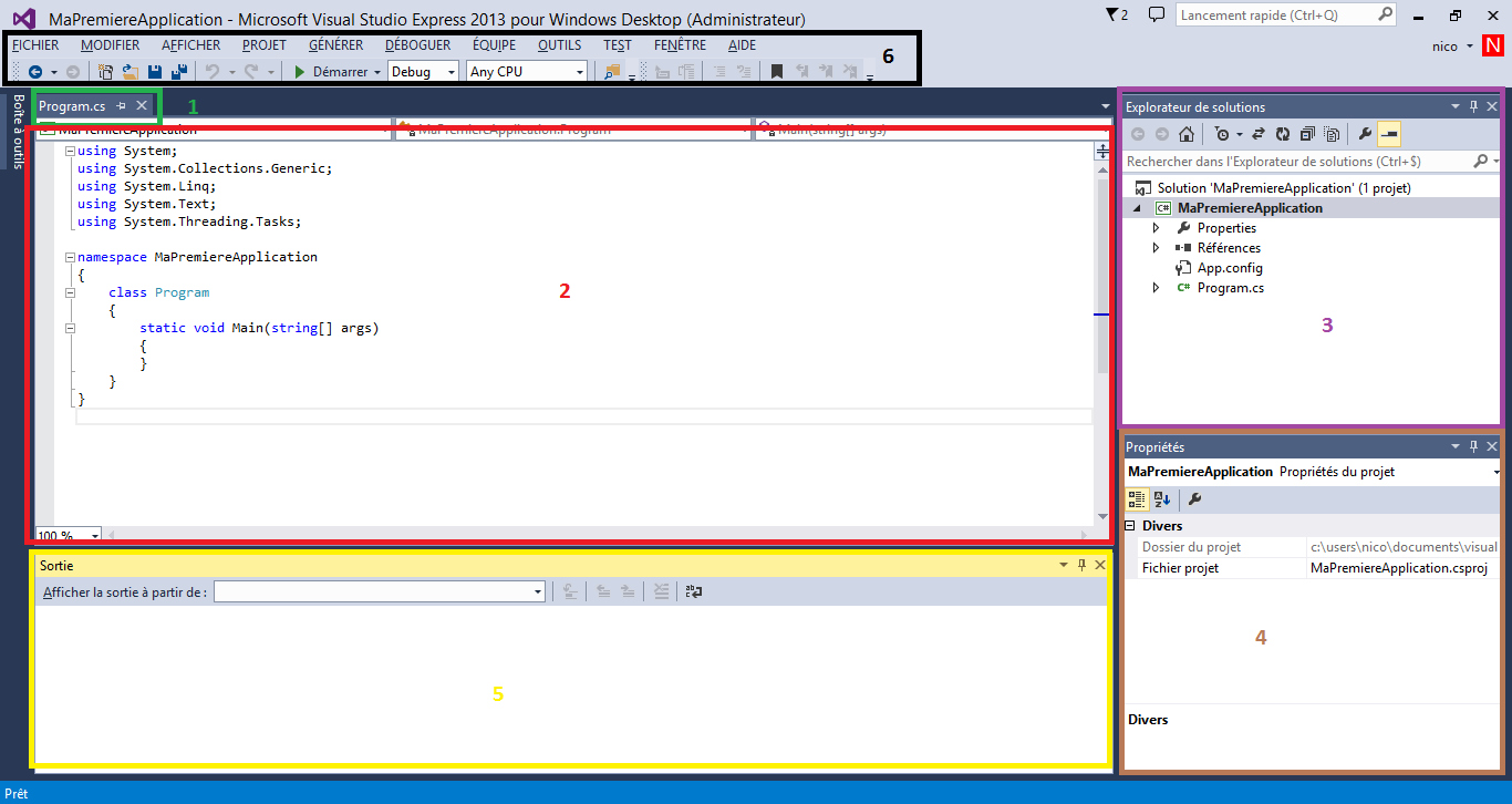 Description de l'interface de Visual Studio Express