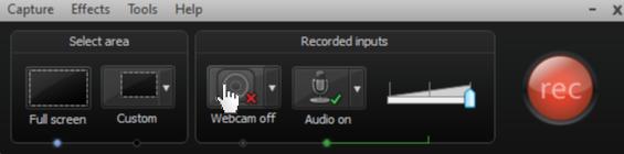 Cliquez sur le bouton de la Webcam pour enregistrer votre caméra