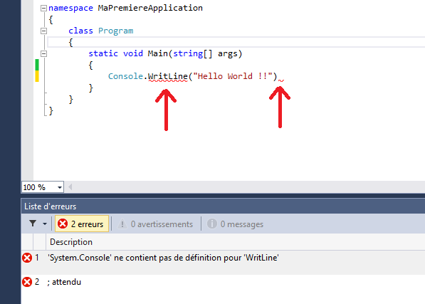 Erreurs de compilation signalées par Visual Studio