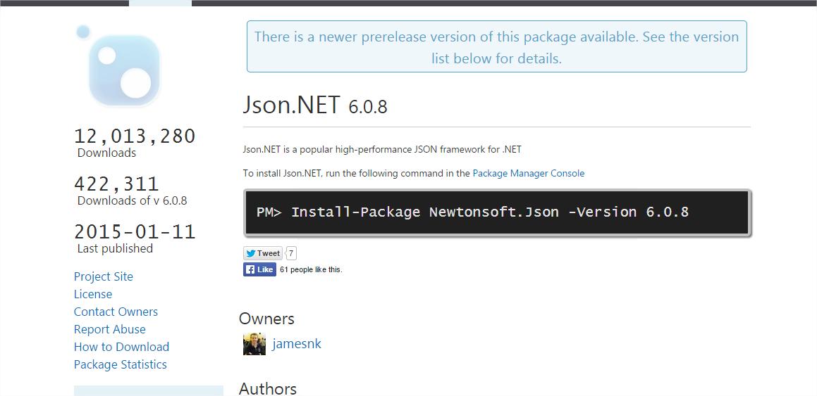 Des infos sur le package JSON.NET