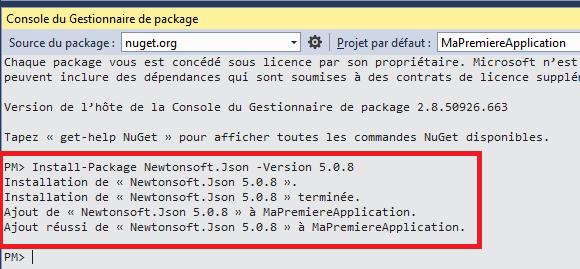 Installation d'un package en ligne de commande
