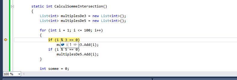 Observer la valeur d'une variable pendant le débogage