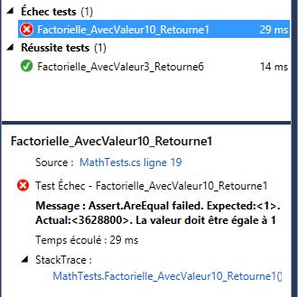 Affichage du détail de l'exécution d'un test