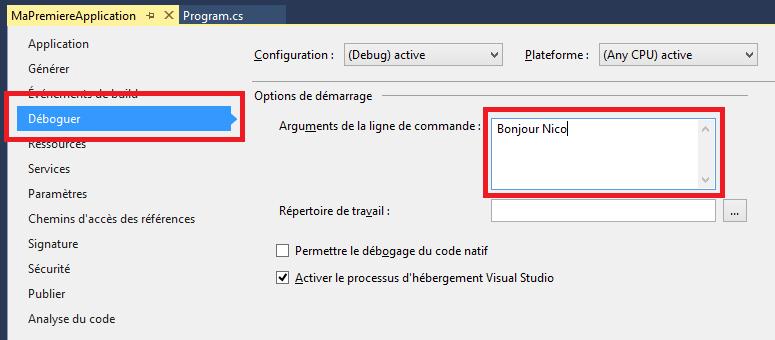 Passer une valeur à la ligne de commande depuis Visual Studio