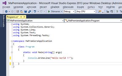 Exemple de code en C# pour créer une application