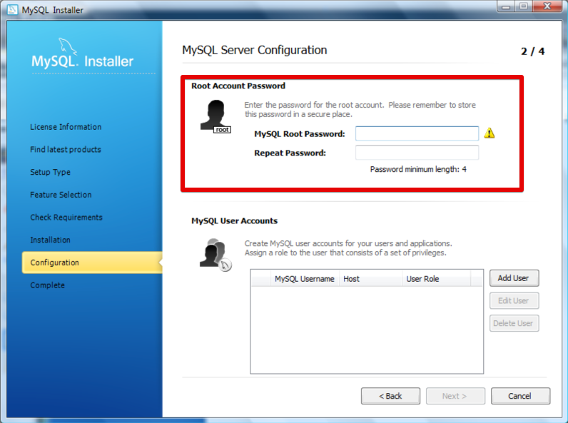 Installation Windows - Configuration du mot de passe