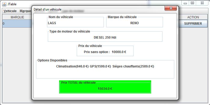 Frame avec jtable et fen tre modale d tail sur clic for Fenetre java