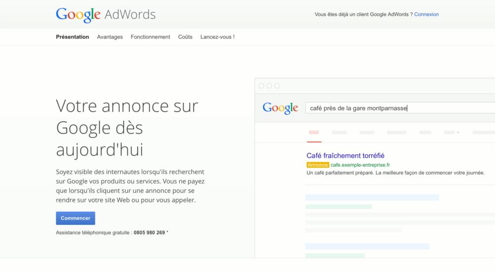 Page de connexion de Google AdWords
