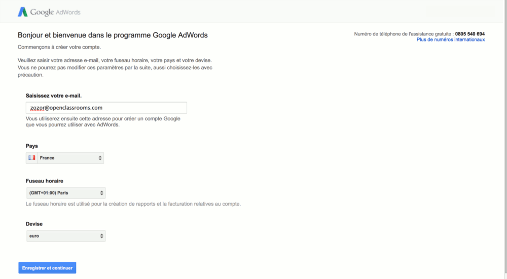 Page d'inscription de Google AdWords