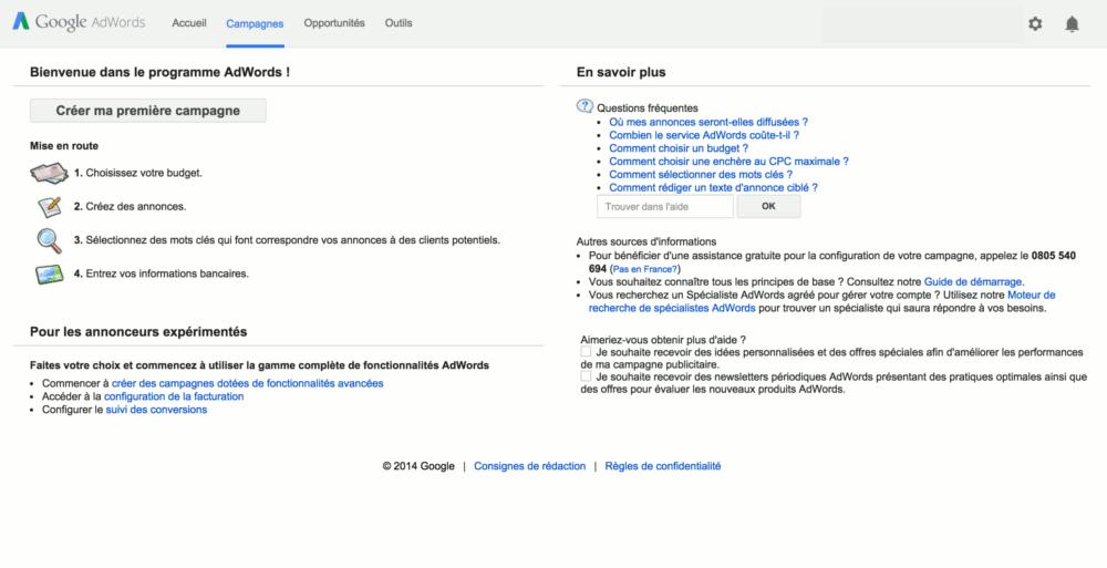 Page d'accueil de Google AdWords