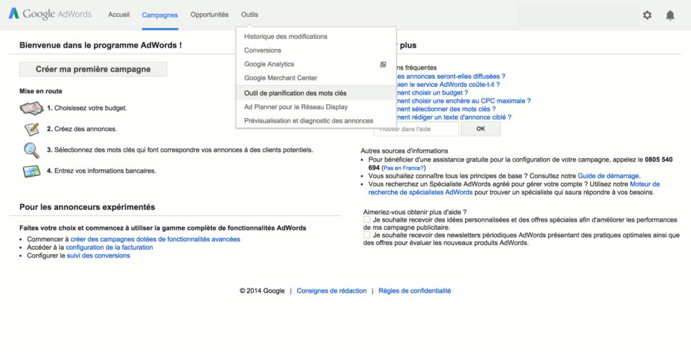 Recherche de l'outil de planification des mots-clés de Google AdWords