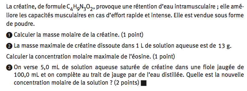 masse molaire de la creatine
