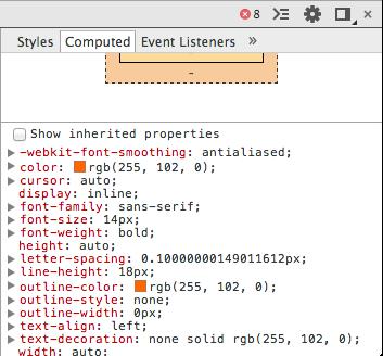 Les propriétés CSS finales d'un élément sous Chrome
