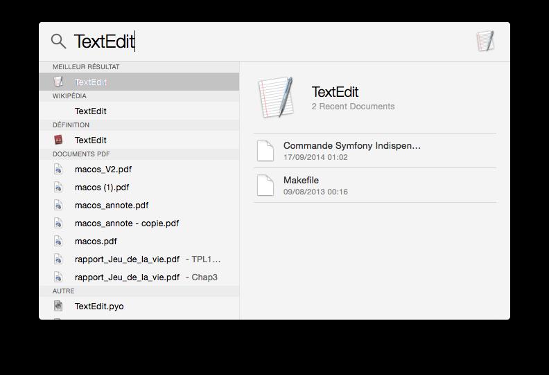Recherche Spotlight : TextEdit