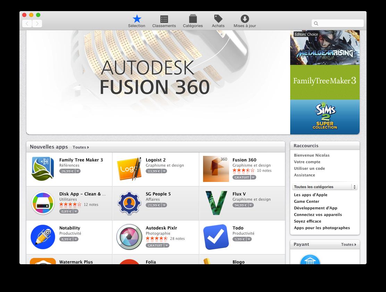 Fenêtre de l'application App Store