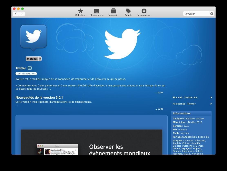 L'application Twitter dans l'App Store