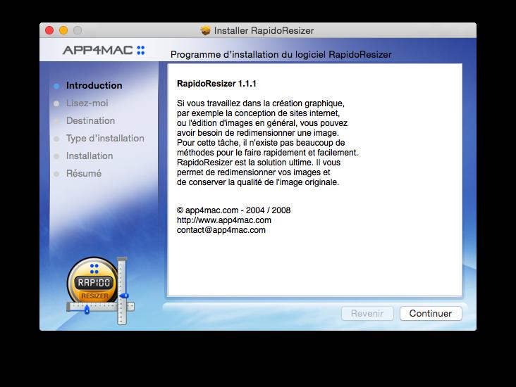 Exemple de l'installation d'une application via un .pkg
