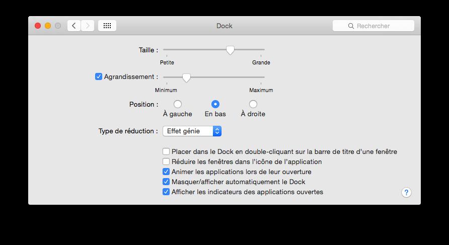 Préférences Dock