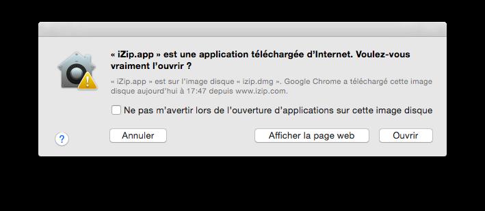 Message d'avertissement lors de l'ouverture d'une application non-identifiée