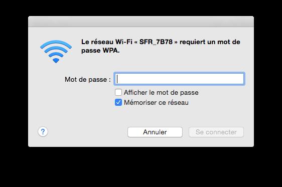 Le mot de passe Wi-Fi est exigé pour se connecter