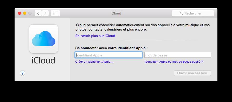 Fenêtre de démarrage d'iCloud